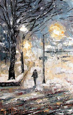 "Street Scene Cityscape Snow Winter New York City paintings ""Late Afternoon Snow"" art by Debra Hurd"