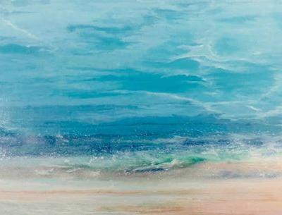 "Contemporary Beach Art, Abstract Seascape Painting, Coastal Art ""Sunday at the Beach"" Skillern's Seas Series by International Contemporary Landscape Artist Kimberly Conrad"
