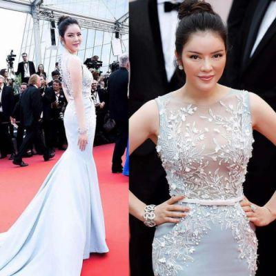 Ly Nha Ky looked lovely in GEORGES HOBEIKA for the premiere of