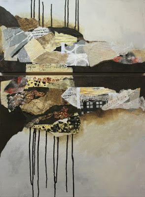 """Mixed media collage painting, """"Billboard 8"""" by Colorado Mixed Media Artist Carol Nelson"""