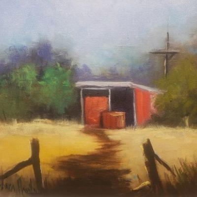 Red Shed in the Country, landscape, Barbara Haviland