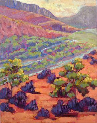 "Contemporary Landscape Painting, New Mexico ""CHAMA RIVER OVERLOOK"" by Santa Fe Artist Annie O'Brien Gonzales"