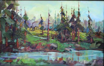 "Contemporary Impressionist Colorado Landscape Painting, Fine Art Oil Painting ""Marsh"" by Colorado Contemporary Fine Artist Jody Ahrens"