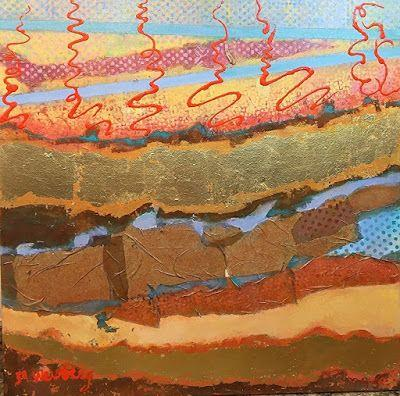 "Contemporary Art, Abstract Landscape Painting ""Santa Fe Serenade"" by Illinois Artist Marilyn Weisberg"