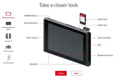 Nintendo Switch has a 720p screen, 32 GB of storage, and expandable storage via microSDXC cards