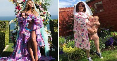 Mum recreates Beyoncé's twin reveal photo with glorious backyard photoshoot
