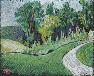 Portrait of a park in paint markers