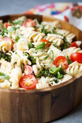 Grilled Broccoli and Corn Pasta Salad with Lemon-Garlic Dressing