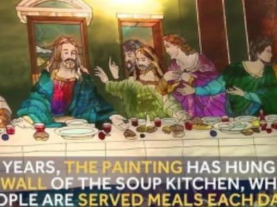 Glass replica of 'The Last Supper' survives soup kitchen fire