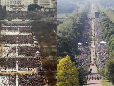 People are comparing the crowd at the royal wedding to Trump's inauguration - and the pictures say a lot