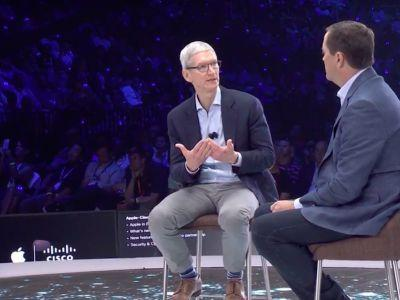 Apple CEO Tim Cook got a big laugh during his surprise appearance at Cisco's conference