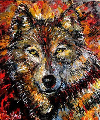 "Wolf , Wild Animal Art Original Oil Painting, Animal Paintings, Fine Art ""Encounter"" by Debra Hurd"