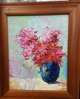 Floral Bouquet,oils canvas,textures,Barbara Haviland,palette knife textures