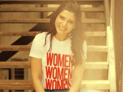 Samantha is stunning in slogan top and patch-work denims. See pics