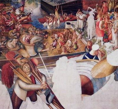 Stanley Spencer 1891-1959 imagines Christ Preaching at the Cookham Regatta