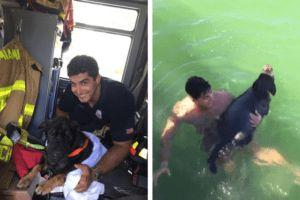 Firefighter Rescues Drowning Senior Dog & Reunites Him With His Human