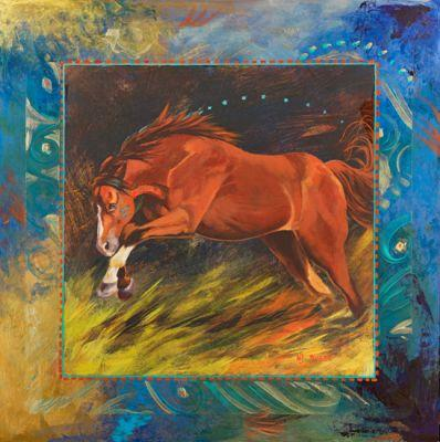 """Contemporary Equine,Horse Fine Art Painting """"RED"""" by Colorado Artist Nancee Jean Busse, Painter of the American West"""