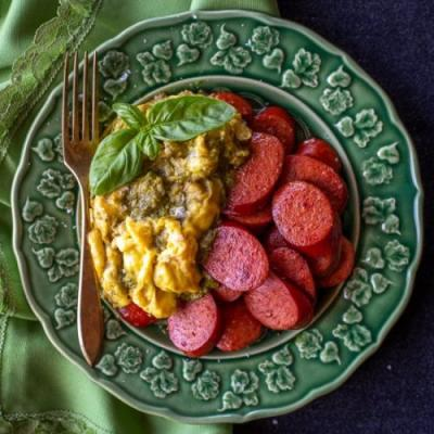 Pesto Scrambled Eggs with Sausage