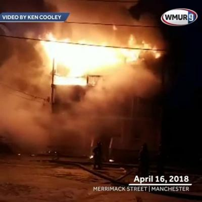Raw video: Fire tears through Manchester apartment building