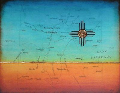 """Contemporary Map Art """"NEW MEXICO MAP PAINTING MINIMALIST LANDSCAPE AND ZIA SUN"""" by Contemporary Artist Brian Billow"""