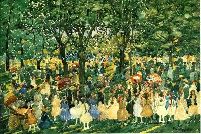 20C May Day in Central Park with Maypole