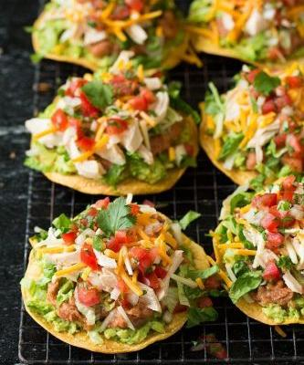 Chicken Guacamole and Bean Tostadas