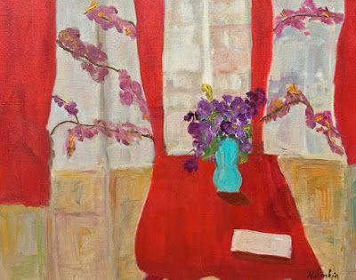 "Expressionist Still Life Fine Art Painting,Interior View, Red Chair, ""RED CURTAINS"" by Oklahoma Artist Nancy Junkin"