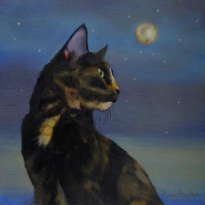 Mighty Tortie painting of tortoiseshell cat