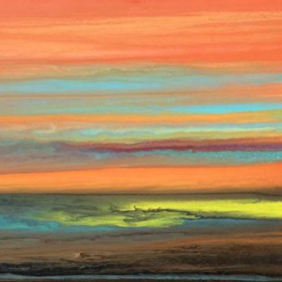 "Abstract Landscape Painting,Sunset ,Contemporary Landscape ""Blazing Sky Reflected X"" by Colorado Contemporary Artist Kimberly Conrad"