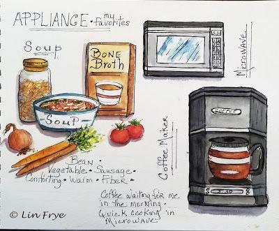Sketchbook Journal - Two Words - Soup and Appliance