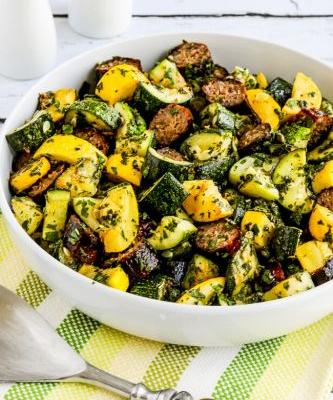 Grilled Sausage and Summer Squash with Lemon and Herbs