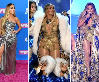 Jennifer Lopez wears six custom Versace outfits to the VMAs