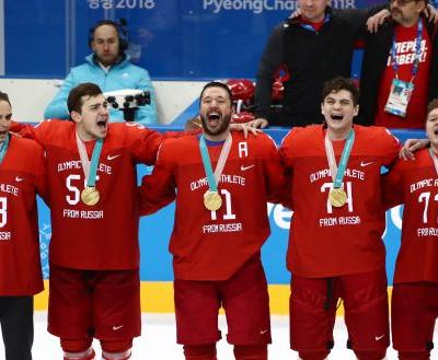 Russians win men's ice hockey gold - then sing Russian national anthem