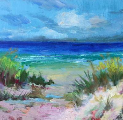 """Contemporary Beach Scene, """"Sand in my Toes 2,"""" by Amy Whitehouse"""