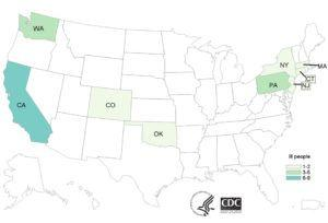 Coconut, with Salmonella, sickens 25 in California, Colorado, Connecticut, Massachusetts, New Jersey, New York, Oklahoma, Pennsylvania, and Washington