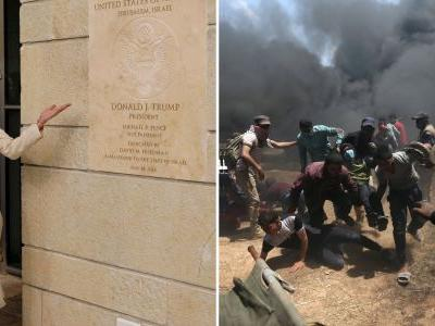Striking image shows a chaotic scene unfolding in Gaza as Ivanka Trump debuted new US embassy in Jerusalem