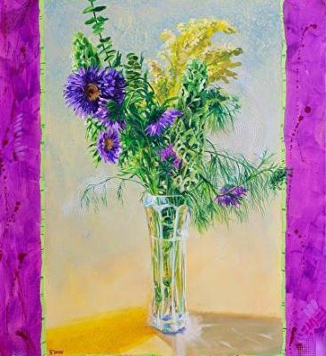"""Still Life Floral Painting,Flower Art """"Radiant Orchid"""" by Colorado Artist Nancee Jean Busse"""