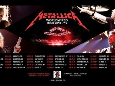 METALLICA Announces 2018-2019 North American Arena Leg Of 'WorldWired' Tour