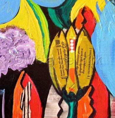 """Colorful Contemporary Abstract Flower Art Painting """"Ginger Tulip"""" by Santa Fe Contemporary Artist Melanie Birk"""