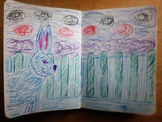 Giant Blue Bunny - Colored Pens