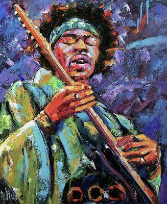 "Abstract Musician Portrait, Music Art Paintings,Guitar "" Hendrix"" by Texas Artist Debra Hurd"