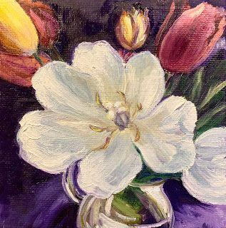 Tiny Tulips, by Melissa A. Torres, 4x4 oil on canvas