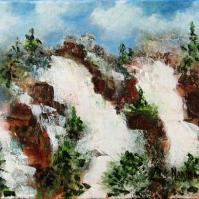 """TICONDEROGA FALLS"" Original Plein Air Landscape Painting by Marina Petro"