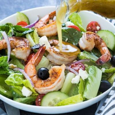 Greek salad with blackened shrimp