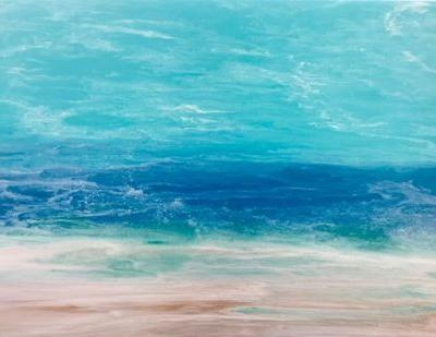 "Contemporary Beach Art, Abstract Seascape Painting, Coastal Art ""WINDSWEPT SURF-SKILLERN'S SEAS SERIES"" by International Contemporary Landscape Artist Kimberly Conrad"