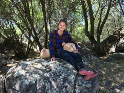 Animal care intern Laura with Persimmon and Juniper