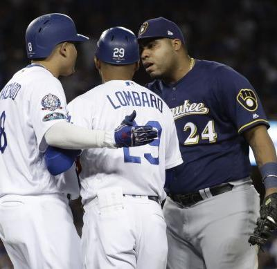 Dodgers' Machado fined by MLB for kicking Brewers 1B Aguilar