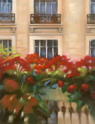 "Parisian Architecture Fine Art Painting, Flower Boxes ""Paris Windows III"" by Illinois Artist Marilyn Weisberg"