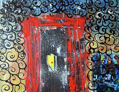 "Abstract Expressionism Art Painting ""The Red Door"" by International Artist Arrachme"