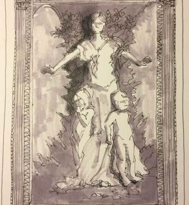 """""""Caritas by A.H. Thayer"""" 9 x 6 pen, ink, warm gray Inktober"""